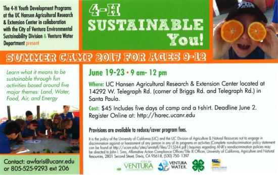 4-H Sustainable You! Summer Camp